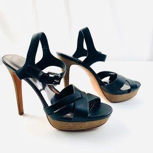 COACH Platform Black Leather Sandals